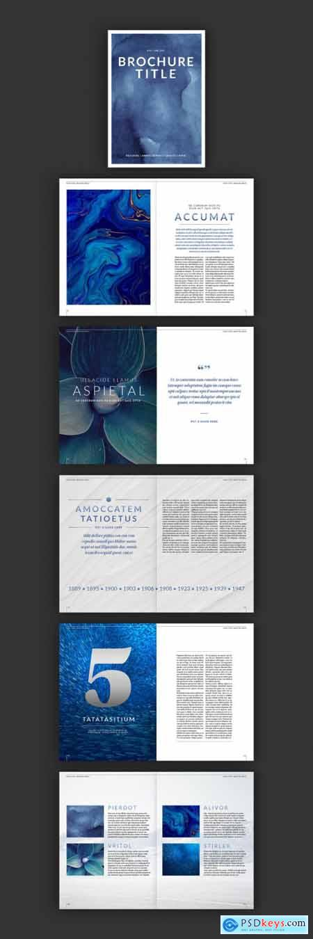Brochure Layout with Blue Gradient Typographical Accents 296400293