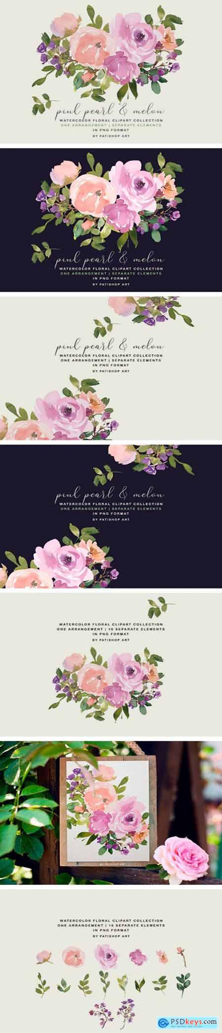 Blush Pink Watercolor Floral Bouquet Set 2544423