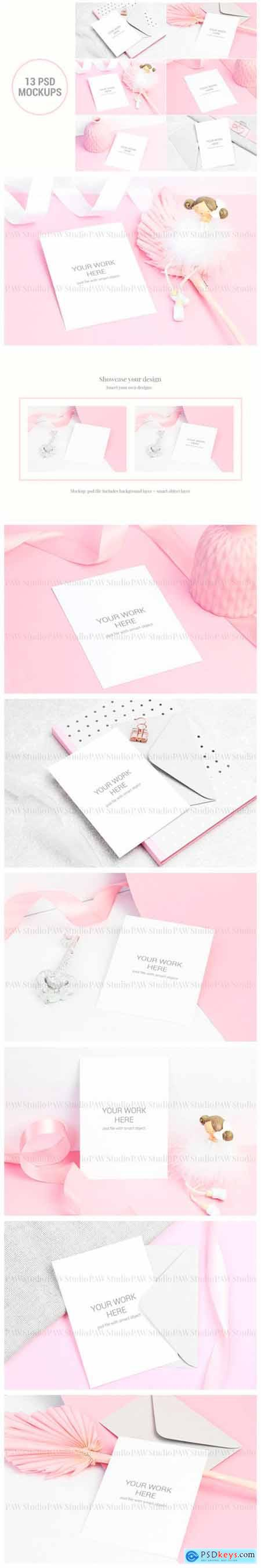 Set of Invitation Card Mockup 2545461
