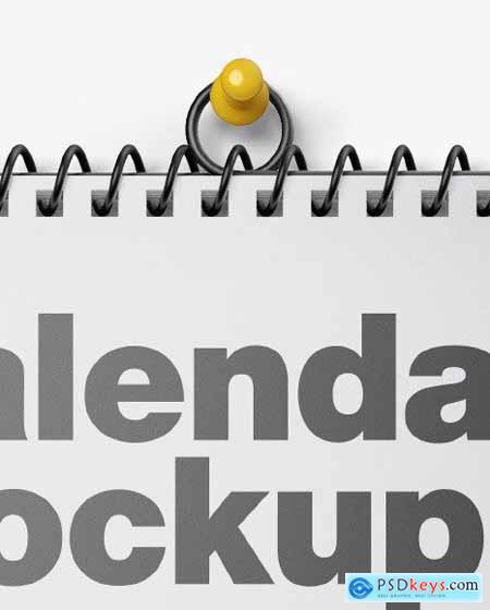 Glossy Wall Calendar w- Pin Mockup 54492