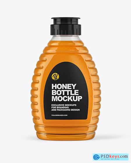 Clear Plastic Honey Bottle Mockup 54540