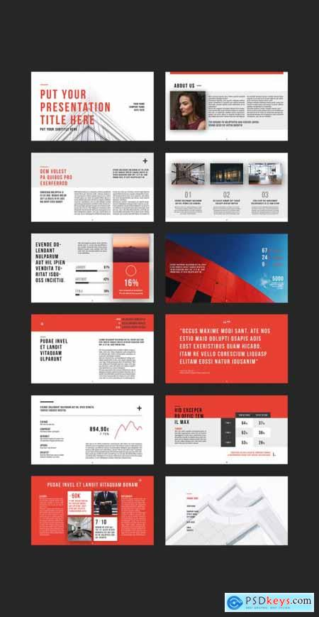 Presentation Layout with Red Accents 231033236