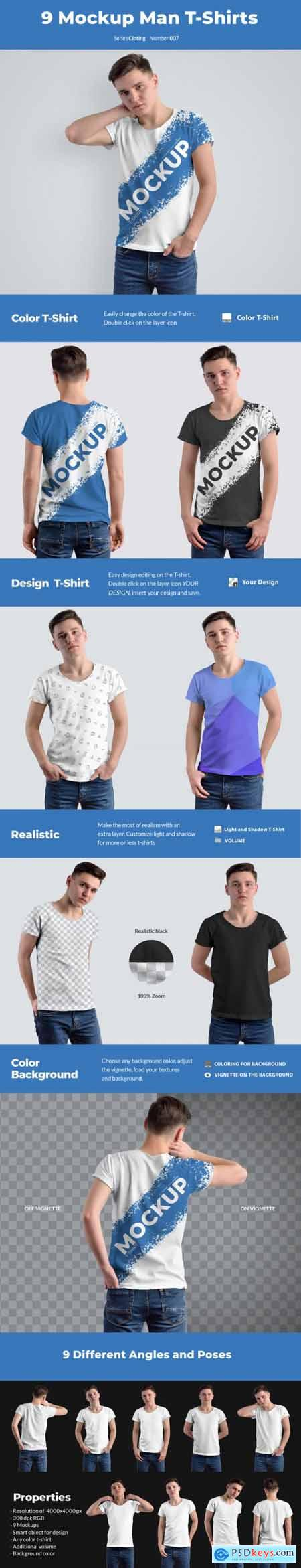 9 Mockups T-Shirts on the Mens