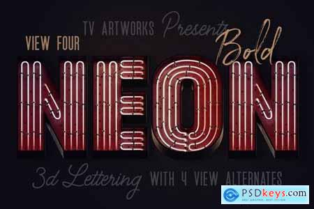 Bold Neon 3D Lettering View 4