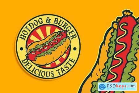 Hotdog Vintage Logo Template
