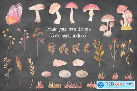 Mushroom Border Watercolor Clip Art