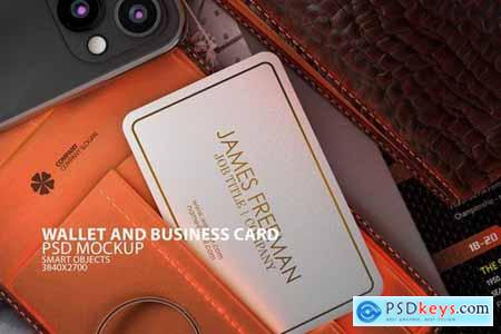 Wallet with Business Card PSD Mock-up