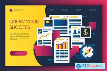 Infographics Of Business Success Landing Template