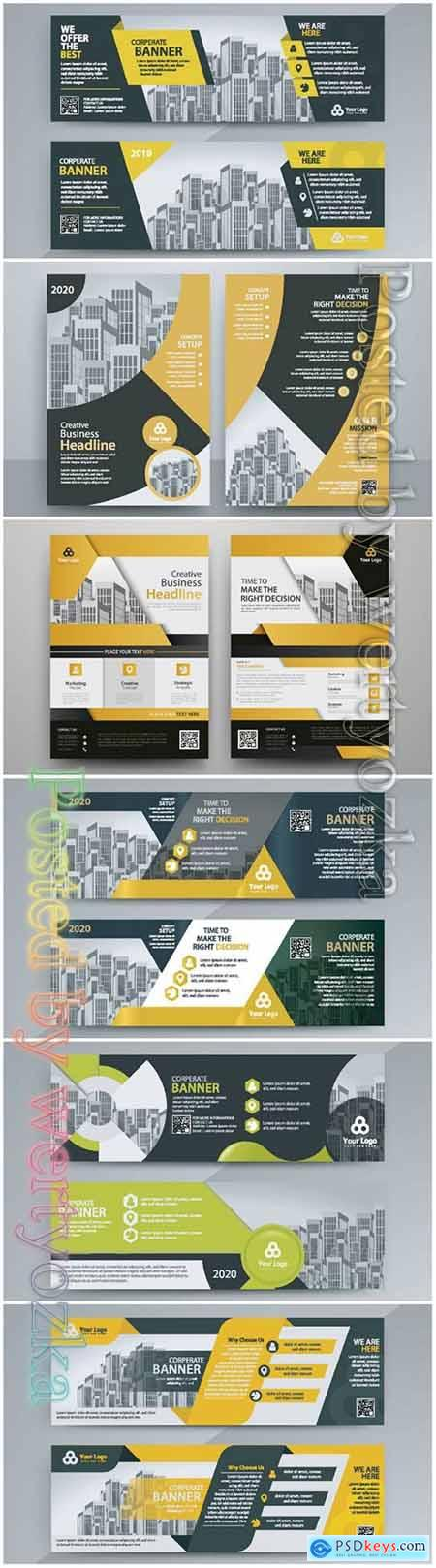 Corporate business banner, abstract vector brochure