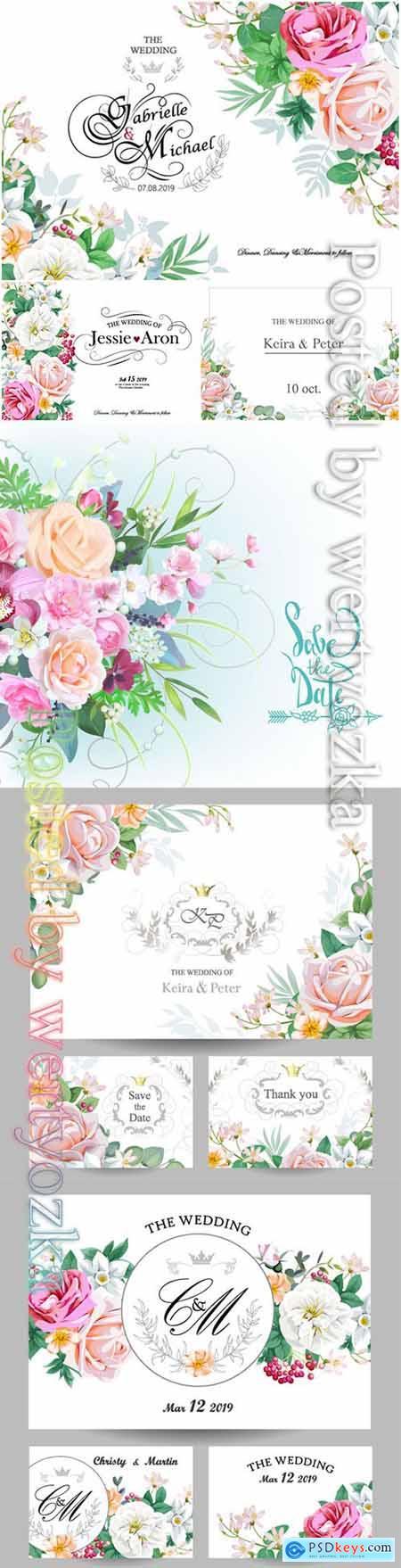 Wedding floral invitation vector card