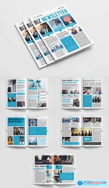 Business Newsletter Layout with Blue Accents 317094014