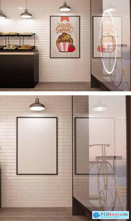 Bakery Coffee Shop Interior with Poster and Window Mockup 274296459