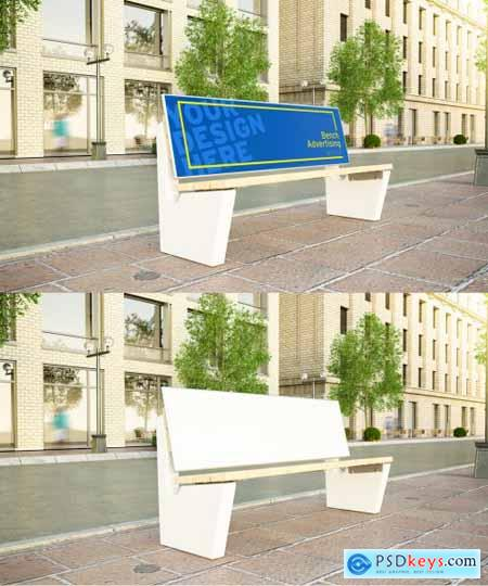 Advertising Bench on a Street Mockup 271309894