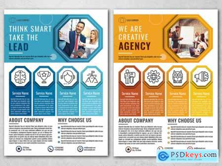 Business Flyer Layout with Blue and Orange Accents 317094104