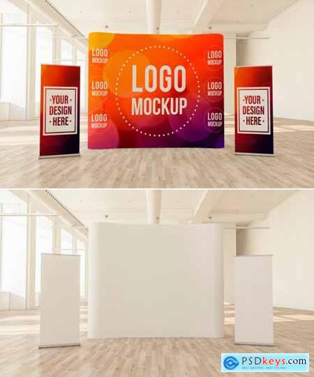 Curved Pop-Up Banner and 2 Roll-Up Banners in a Light Interior Mockup 266362631