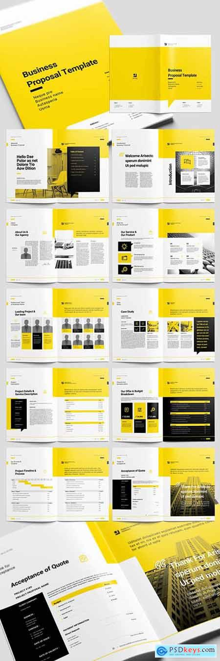 Yellow Proposal Brochure Layout with Black Accents 226865052