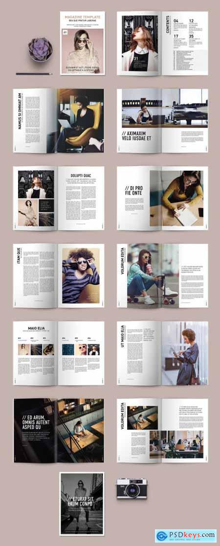 Magazine Layout with Bold Title Treatments 234719275
