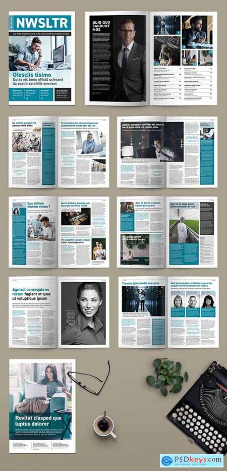 Teal and White Newsletter or magazine Layout 256523602