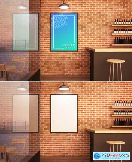 Poster with Frame Mockup Hanging on Wall of a Bar 272010120