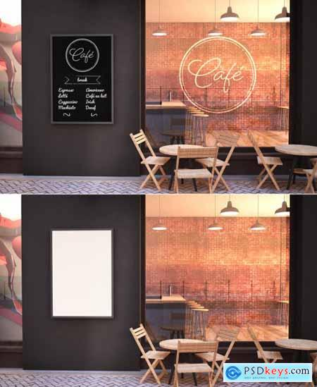 Cafe Facade Mockup with Branding wall and Poster 272010194