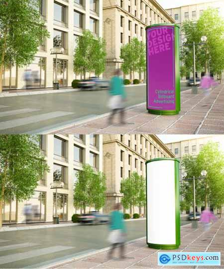 Cylindrical Billboard on City Street Mockup 271653917