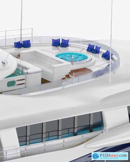 Yacht Mockup - Back Half Side View
