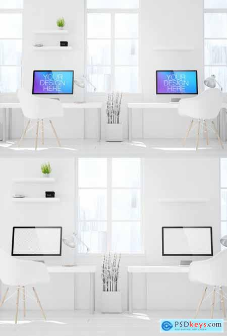 Two Desktop Computers in White Room Mockup 265178083