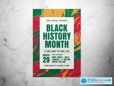 Black History Month Event Flyer Layout with Abstract Background 317318625