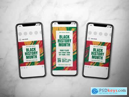 Black History Month Social Media Post Layout Set with Abstract Background 317318729