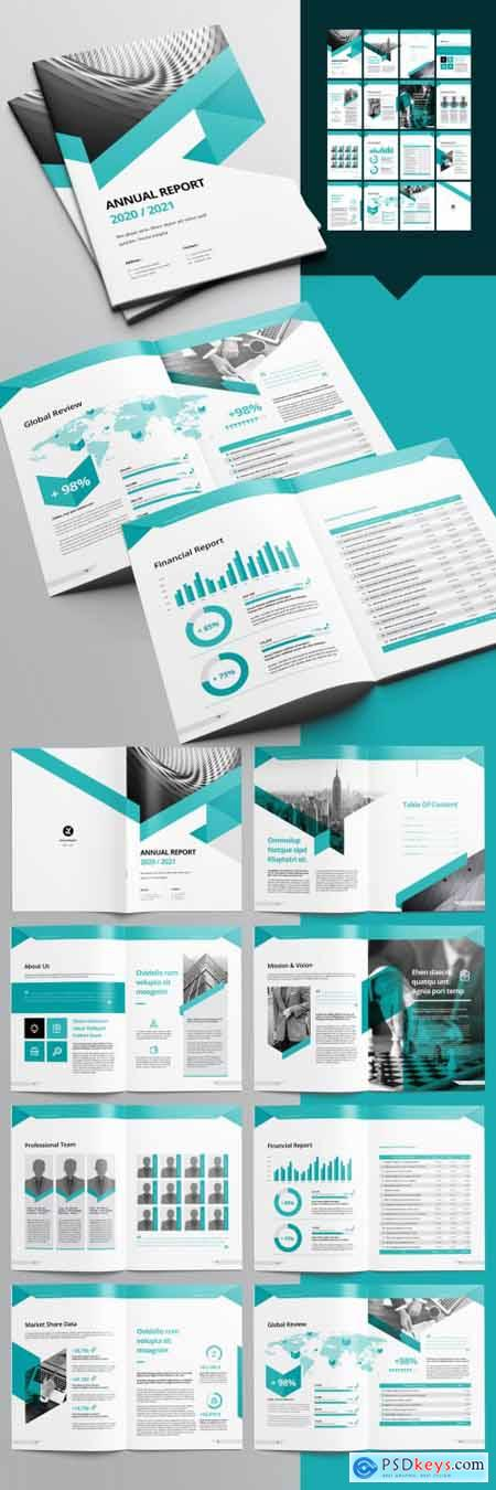 Annual Report Layout with Green Accents 238280096