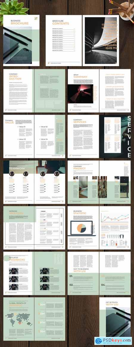 Business Brochure Layout with Green and Orange Accents 246490262