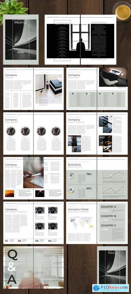 Company Profile Layout with Grey and Green Accents 246490258