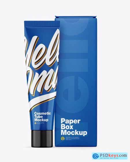 Glossy Cosmetic Tube w- Box Mockup 54489