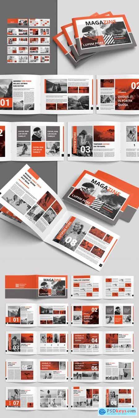 Magazine Layout with Orange Accents 254482406