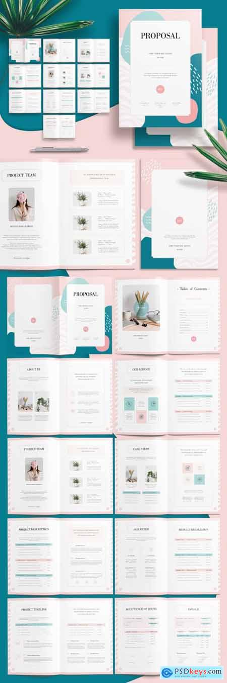 Minimalist Proposal Brochure Layout with Green and Pink Accents 281299559