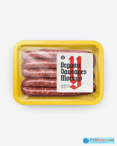 Plastic Tray With Sausages Mockup 54608