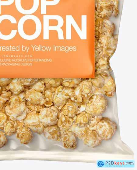 Plastic Bag With Caramel Popcorn Mockup 54628