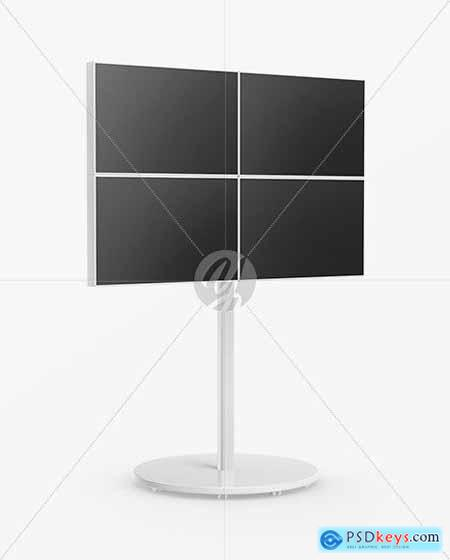 Portable Video Wall Mockup - Half Side View 54612