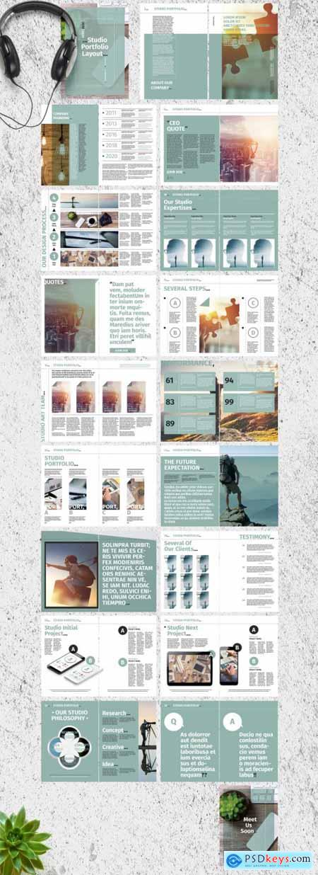 Teal and White Studio Portfolio Layout 285092184