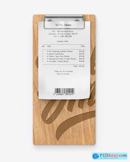 Wooden Clipboard w- Receipt Mockup 54604