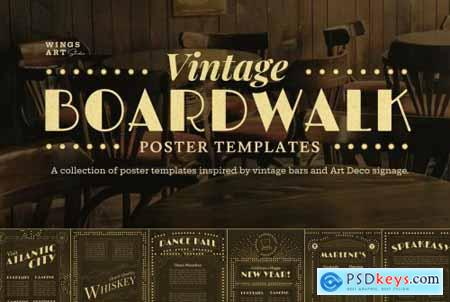 Vintage Art Deco Boardwalk Poster Templates