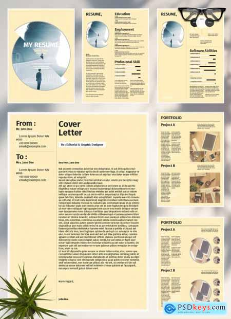 Resume Layout with Yellow Accents 288025396