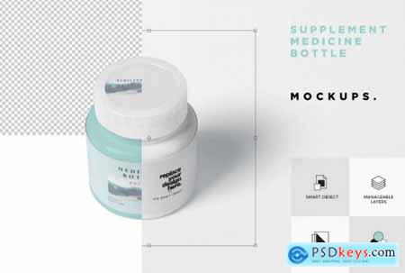 Small Round Plastic Medical Jar Mockups