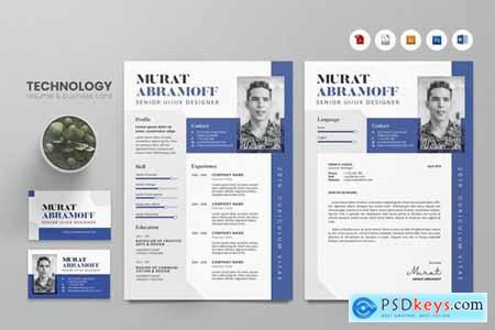 Creative CV Resume & Name Card PSD, DOCX, AI No.10