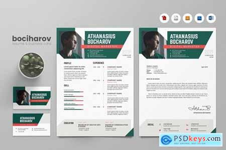Creative CV Resume & Name Card PSD, DOCX, AI No.9