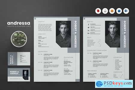 Creative CV Resume & Name Card PSD, DOCX, AI No.11