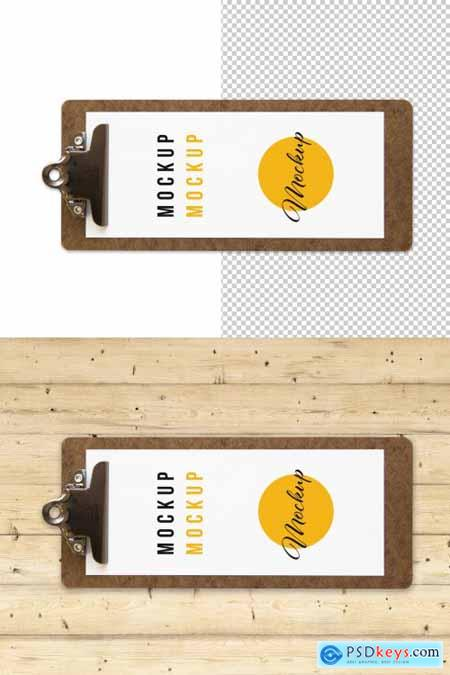 Long Wooden Menu Clipboard Top View Mockup 317591038