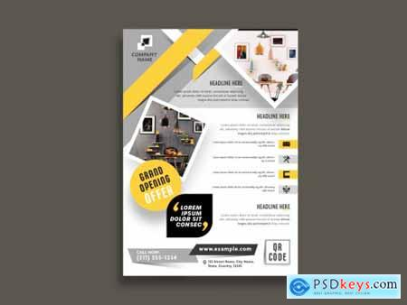 Flyer Layout with Gold and Gray Accents 317547388