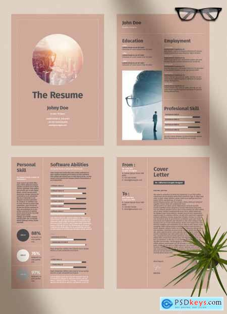 Resume Layout with Brown Accents 274453772