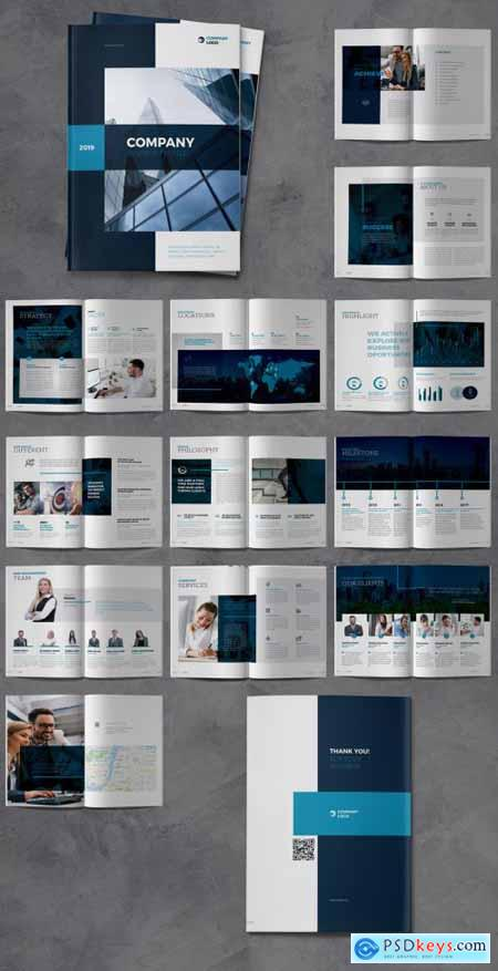 Company Profile Brochure Layout with Dark Blue Accents 317759457